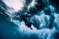 Пикирование девушки серфера под водой Surfgirl волны моя стоковые фотографии rf