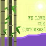 Пишущ показу примечания мы любим наших клиентов Клиент фото дела showcasing заслуживает хорошее уважение удовлетворения обслужива иллюстрация вектора