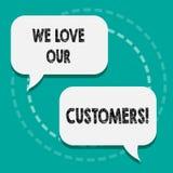 Пишущ показу примечания мы любим наших клиентов Клиент фото дела showcasing заслуживает хорошее уважение удовлетворения обслужива иллюстрация штока