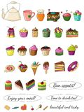 Illustration of delicious beautiful doodle-style cakes. stock illustration