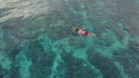 Плавание Snorkler в голубом океане, воздушном видеоматериал