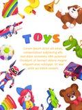 Плакат игрушек детей Утка кролика автомобиля трещотки рояля пирамиды дизайна крышки брошюры игрушки ребенк, плоский шаблон вектор бесплатная иллюстрация