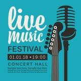Плакат для фестиваля живой музыки с гитарой и mic иллюстрация штока