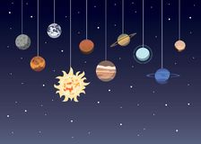 Планеты солнечной системы шаржа Планета Плутон астрономической обсерватории небольшая, ртуть Нептун Уран Венеры иллюстрация штока