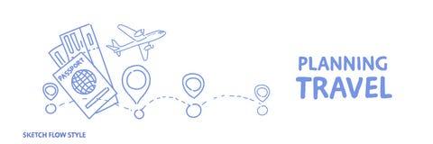 Планируя маршрут праздника концепции перемещения выбирая гостиницу и билеты записывая знамя стиля подачи эскиза концепции горизон иллюстрация штока