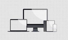 Планшет и смартфон монитора ноутбука реалистического модель-макета электронных устройств установленные с пустой технологией пусто бесплатная иллюстрация