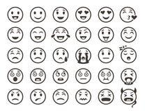 План смайликов Emoji смотрит на линию значки вектора улыбки смайлика смешную иллюстрация вектора