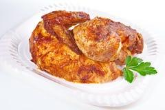 плита зажженная цыпленком стоковое изображение