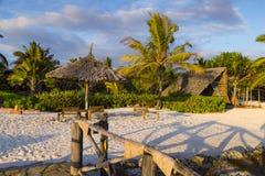 Пляжный комплекс на утре Остров Занзибара стоковое изображение rf