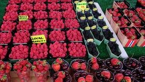 Плод леса как голубики, поленики, клубники, и вишни с ценником, Бергеном, Норвегией стоковая фотография rf