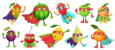 Плод супергероя Супер яблоко, ягода и апельсин в костюме плаща героя Вектор мультфильма еды супергероев сада здоровый иллюстрация штока