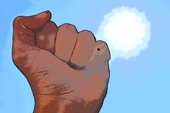 Плотный кулак с конспектом солнца иллюстрация вектора