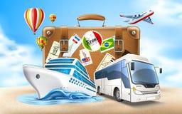Путешествовать вектора и дизайн 3d плаката туризма иллюстрация вектора