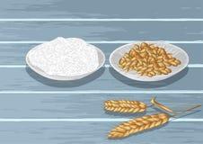 Пшеница и мука в плите иллюстрация штока