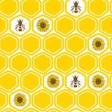 Пчелы, соты и солнцецветы, картина  Ñ olorful безшовная иллюстрация вектора