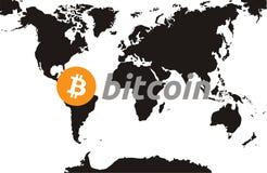 Правило Bitcoin карты мира стоковая фотография rf