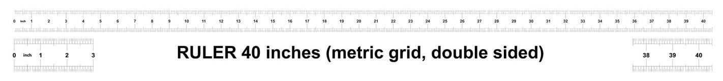 Правитель 40 дюймов метрический Цена разделения 0 05 дюймов Двойник правителя встал на сторону Точный измеряя инструмент Решетка  иллюстрация вектора