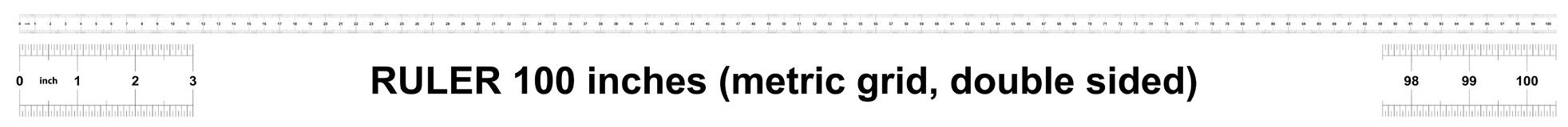 Правитель 100 дюймов метрический Цена разделения 0 05 дюймов Двойник правителя встал на сторону Точный измеряя инструмент Решетка иллюстрация штока
