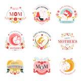 Праздник дня матерей изолировал значки с женщиной и младенцем иллюстрация штока