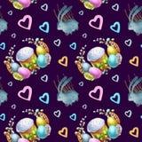 Праздник счастливая пасха картины акварели безшовный иллюстрация вектора