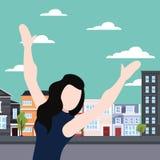 Праздновать женщину в городе иллюстрация штока
