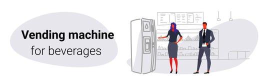 Предприниматели принимая напитки от женщины человека распределителя воды используя супер большой бакалейной лавки автомата соврем бесплатная иллюстрация
