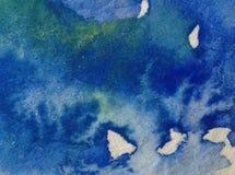 Предпосылка акварели абстрактная яркая красочная текстурная handmade Картина неба и облаков во время захода солнца Современная ко стоковые изображения