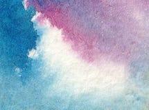 Предпосылка акварели абстрактная яркая красочная текстурная handmade Картина неба и облаков во время захода солнца Современная ко стоковая фотография rf