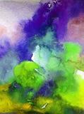 Предпосылка акварели абстрактная яркая красочная текстурная handmade Картина неба и облаков во время захода солнца Современная ко стоковые изображения rf