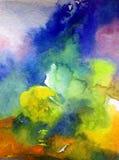 Предпосылка акварели абстрактная яркая красочная текстурная handmade Картина неба и облаков во время захода солнца Современная ко стоковые фотографии rf
