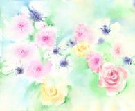 Предпосылка акварели мягкая флористическая стоковое изображение rf
