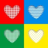 Предпосылка дня ` s Валентайн Украшенные сердца которое отрезано вне от предпосылки цвета иллюстрация вектора