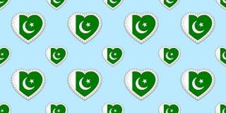 Предпосылка флагов Пакистана Картина флага Pakistanian безшовная Ярлыки вектора пустые лоснистые Символы сердец влюбленности Хоро бесплатная иллюстрация