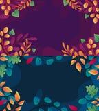Предпосылка осени установила с листьями если плоский стиль Иллюстрация апельсина падения, зеленых и красных листьев вектор иллюст иллюстрация штока