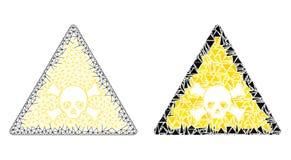 Предупреждение полигонального 2D черепа сетки токсические и значок мозаики иллюстрация штока