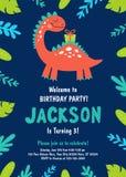 Приглашение дня рождения динозавра вектор бесплатная иллюстрация