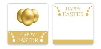 Приглашения партии пасхи вектора и поздравительные открытки с золотыми яйцами карточка пасха также вектор иллюстрации притяжки co иллюстрация штока
