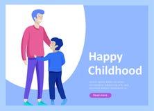 Приземляясь шаблоны страницы на счастливый день отцов, здравоохранение ребенка, счастливое детство и дети, товары и развлечения иллюстрация вектора