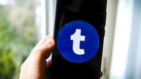 Приложение Tumblr на руке смартфона стоковое изображение