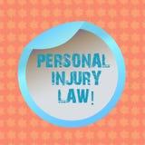 Примечание сочинительства показывая закон личной травмы Фото дела showcasing для того чтобы гарантировать ваши права в случае опа иллюстрация штока