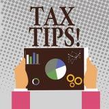 Примечание сочинительства показывая подсказки налога Идеи помощи фото дела showcasing для уменьшения заработков обложения увеличи иллюстрация вектора