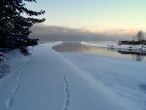 Пристань моря в зиме стоковые фотографии rf