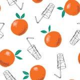 Причудливая покрашенная вручную предпосылка картины вектора апельсинов и стекел сока doodle безшовная Линия плоды лета искусства бесплатная иллюстрация
