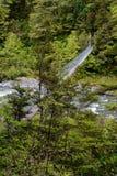 Приостанавливанная сторона моста качания принятая дальше, над рекой в Новой Зеландии стоковое изображение rf