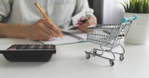 Прожиточный минимум концепция - человек высчитывая счеты расходов домочадца ежедневных сток-видео