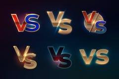 Против комплекта логотипа ПРОТИВ писем для конкуренции спорта, экран спички боя бокса Muttahida Majlis-E-Amal, концепция игры Век иллюстрация вектора