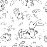 Linear drawing rabbit and carrot stock illustration
