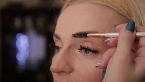 Профессиональный визажист делает макияжем очень красивую женщину видеоматериал