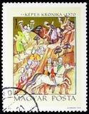 Победа Basarab над королем Karoly Роберт, иллюстрациями от serie Kepes Kronika, около 1971 стоковая фотография rf