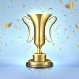 пожалование золотистое Реалистическая чашка чемпиона, шаблон дизайна трофея победителя 3D, концепция руководства с confetti Векто иллюстрация вектора